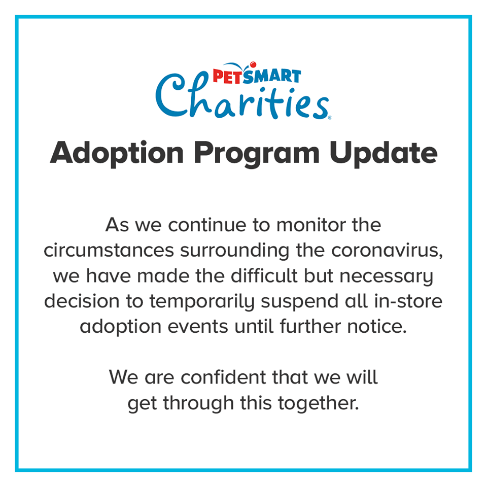 Petsmart suspends adoption events